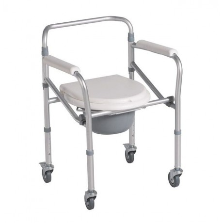Commode Adjustable Mobile Foldable Chrome Steel